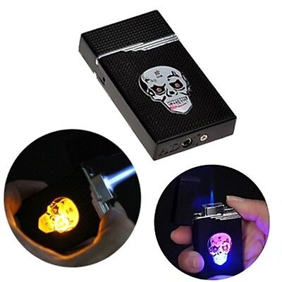 3 Color LED Cigarette Cigar Skull Lighter Skeleton Head Windproof Jet Flameless