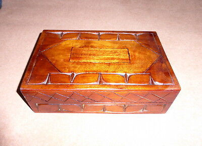 Jewellery Box, Carved Mahogany