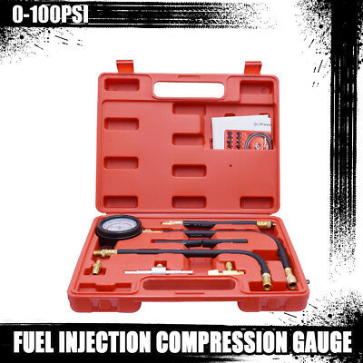 Fuel Injection Pump Injector Tester Test Pressure Gauge Gasoline Cars Trucks Kit