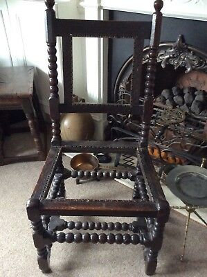 17Th Century Charles 1/11 Oak Caned Bobbin Chair All Solid!!!...
