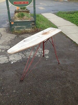 VTG ANTIQUE IRONING Board Wood Red Folding Metal Iron Primitive USA 1940s 30s ?
