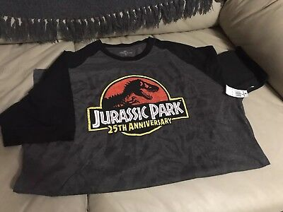 Jurassic Park 25th Anniversary Logo Adult L Charcoal Graphic T-Shirt