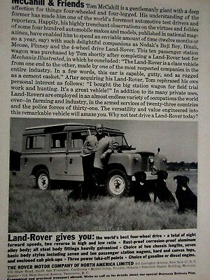 1960 Land Rover Tom McCahill & Black Labs Original Print Ad 8.5 x 11""