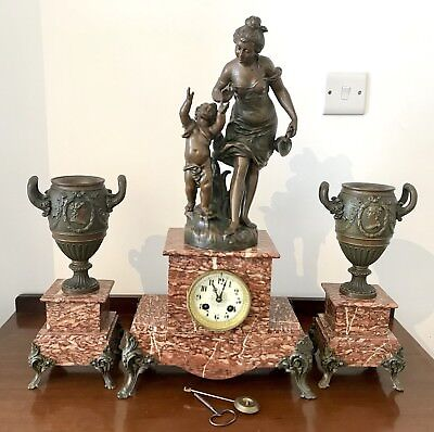 French Bronze / Spelter Mantel Clock With Garniture Set