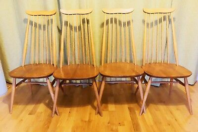 A set of 4 retro Pale blonde Ercol 369 Windsor Goldsmith vintage dining chairs .
