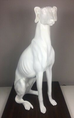 "21"" Large White Greyhound Whippet Statue"