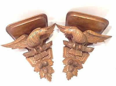 "Pair Antique 19th C. Folk Art American Eagle Carved Oak Shelves Large 14"" Tall"