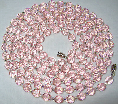 "50"" Long Vintage Art Deco 'antique Rose' Pink Crystal Glass Beads Necklace"