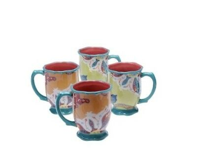Tracy Porter Scotch Moss Cups Mugs Lot of 4 Excellent Condition