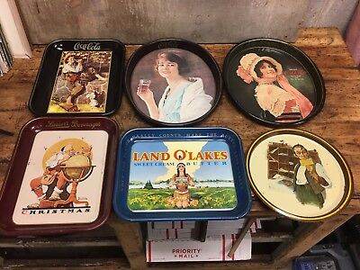 6 Vintage Advertising Trays Coca Cola Land O Lakes Norman Rockwell
