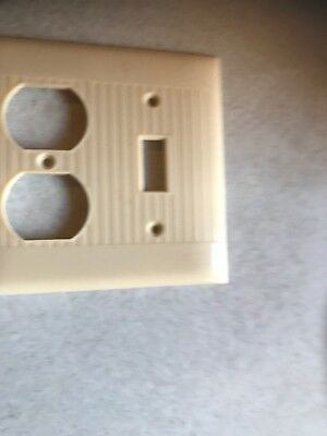 Vintage Sierra Ivory Ribbed Bakelite Combo Switch & Outlet Cover Plate 4 1/2""