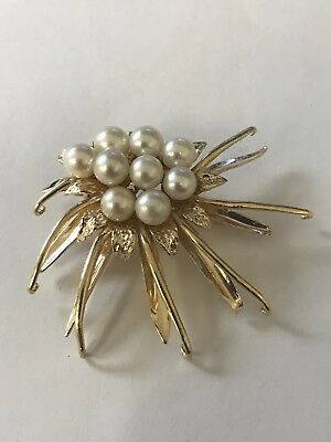14K Solid Gold Estate Vintage South Sea Pearl brooch/Pin 12.3 g