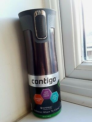 LARGE 20oz (591ml) Contigo West Loop 2.0 Autoseal NEW Insulated Cup BLACK UK BIG