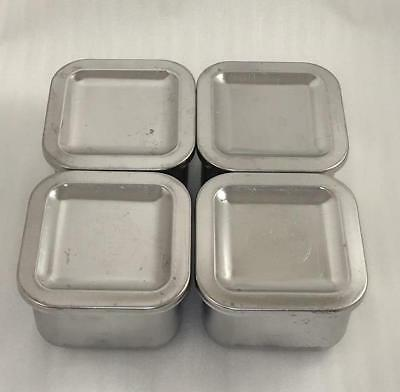 4 Revere Ware 1801 Stainless Steel Square Storage Containers Fridge Refrigerator