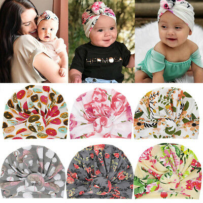 Girls Floral Print Cute Baby Cap Kids Baby Turban Beanie Hat Knotted Headband