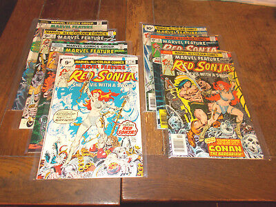 Marvel Feature - Set of 7 issues 1-7 Red Sonja 1975 Bronze Age FN