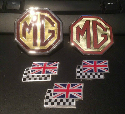 MG ZS saloon badge set front grille, rear & 3 chequerred and union jack flags