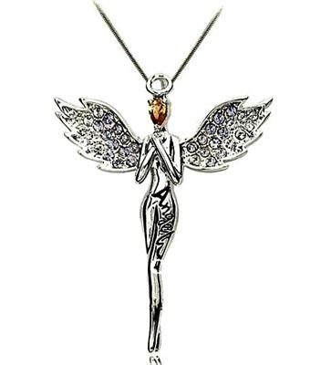 Guardian Angel Pendant Necklace Rhodium Plated Clear Crystal Gift Boxed BX2