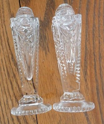 """Salt  Pepper Shakers Crystal Clear Cut Glass Vintage 4 ¾ """" Tall"""