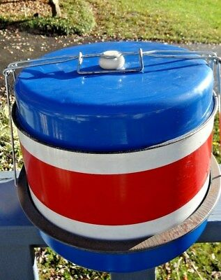 Vintage red white blue Locking Aluminum Cake Protector Carrier MID-CENTURY