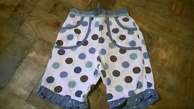 Monsoon Girls Cute Summer Trousers White with Multi Spots Age 3-6 Months Ex