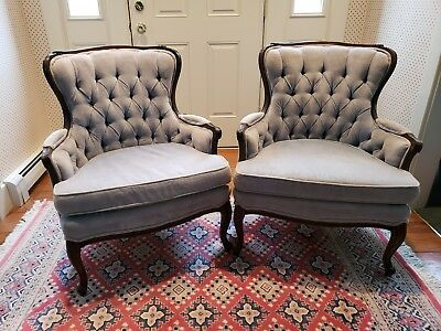 Pair Sam Moore Vintage French Provincial Lite Blue Velvet Carved Accent Chairs