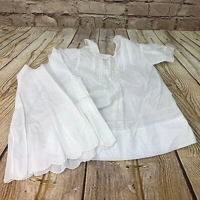 Vintage baby cotton dress and slip cotton pleated embroidered 9-12 months