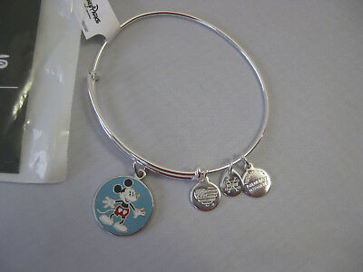 Disney Alex and Ani Mickey Mouse Heart Shorts Bangle Bracelet Silver Tone