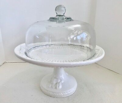 "Over and Back Inc Italian White Ceramic 14"" Pedestal Cake Stand with Glass Dome"