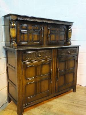 Priory Dark Solid Oak Court Cupboard / Sideboard, 2 Drawers Over Cupboards.