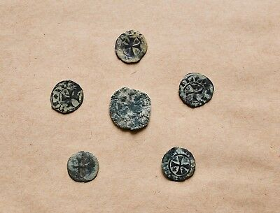 LOT OF 6 EARLY MEDIEVAL COINS TO BE CATALOGUED (13th-14th c.). VERY NICE!