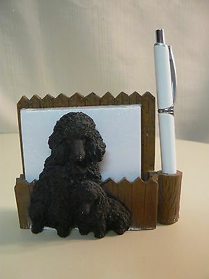 E&S Imports POODLE Black MAGNETIC NOTE PAD with Pen NEW #46480-29 Sits DESKTOP
