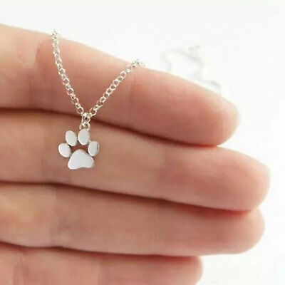 Cute Paw Print Gold Silver Chain Pendant Unisex Necklace Puppy Kitten Dog Cat UK