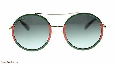 4e6da864f5 Gucci Women Round Sunglasses GG0061S 003 Gold Green Gradient Lens 56mm  Authentic