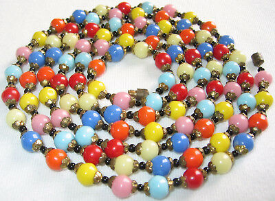 """52"""" LONG ANTIQUE VINTAGE ART DECO TO 60's CZECH HARLEQUIN GLASS BEADS NECKLACE"""