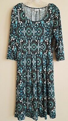 68bd434a748 NEW Kim Rogers 3/4 Sleeve Pleated Dress Turquoise Black Floral Size XL  Petite