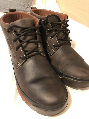 6c9ee039be85b Mens Brown Waxed Leather Lace Up Clarks Gore-tex Ankle Boots Lawes Mid 10.5