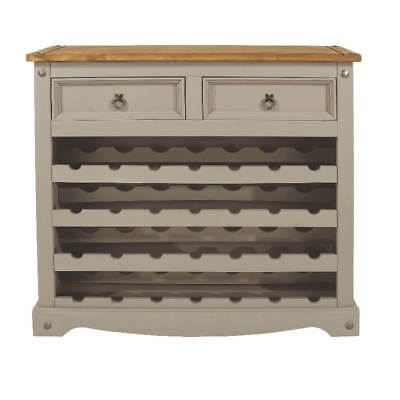 Corona Grey Large Wine Rack with 2 Drawers. Waxed Pine Top. Holds 28 Bottles.