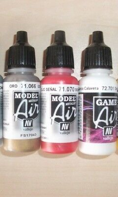 Nail Art Airbrush Paint Set, 3 x 17ml bottles  Gold ,Red and White acrylics