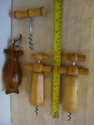 Vintage/Antique Treen Wooden Wine Bottle Cork Screws Job Lot x 4