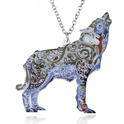 Acrylic Wolf Howling Dog Abstract Colourful Necklace Pendant Jewellery Gift Bag