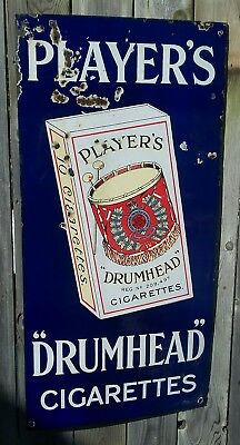 Rare Vintage Antique Original Player's Drumhead Cigarettes Porcelain Enamel Sign