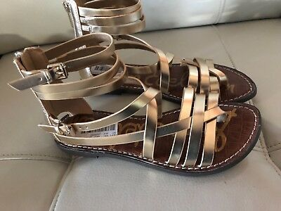 b0357ec5e Sam Edelman Ganesa Gladiator Saddle Brown Leather Back Zip Strappy Sandal 7