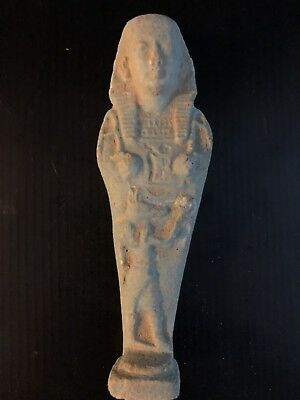 Rare Ancient Egyptian Faience Shabti With Anubis On The front (945-715 BC.)