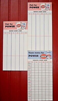Vintage Amoco Gas and Permalube Notebooks for Card Games Canasta & Bridge