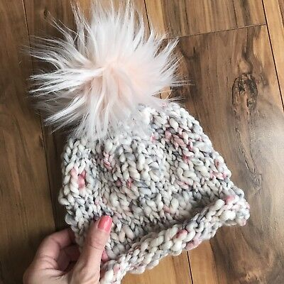 New Handmade Knitted Baby Girl Faux Fur Pom Pom Beanie Hat Cap Toque Size 6m