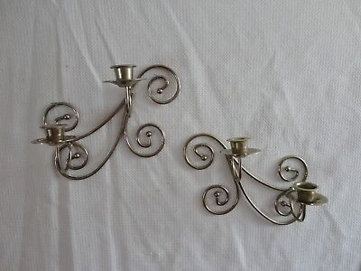 Home Interiors Set of 2- Brass  Wall Sconces   9''t x 6''w