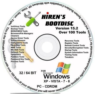 Hiren's Boot CD 15.2 & 16gb USB TOOLS DISK WIPERS for HP DELL COMPAQ IBM LENEVO