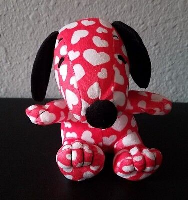 Hallmark Peanuts Snoopy Red & White Heart Plush Valentine Small Soft Clean