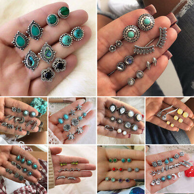 Women's Boho Crystal Earring Retro Earring Set Ancient Silver Stud Earrings New